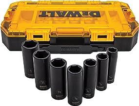 DEWALT DWMT74736 Tough Box 7PC SAE 1/2 Deep Drive Impact Socket Set