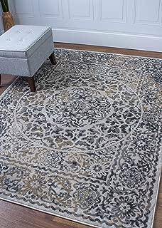 Transitonal Neutral Vintage Distressed Border Rugs 2x8 Runner Trendy Carpet, 2-Feet 7-Inch by 8-Feet Runner