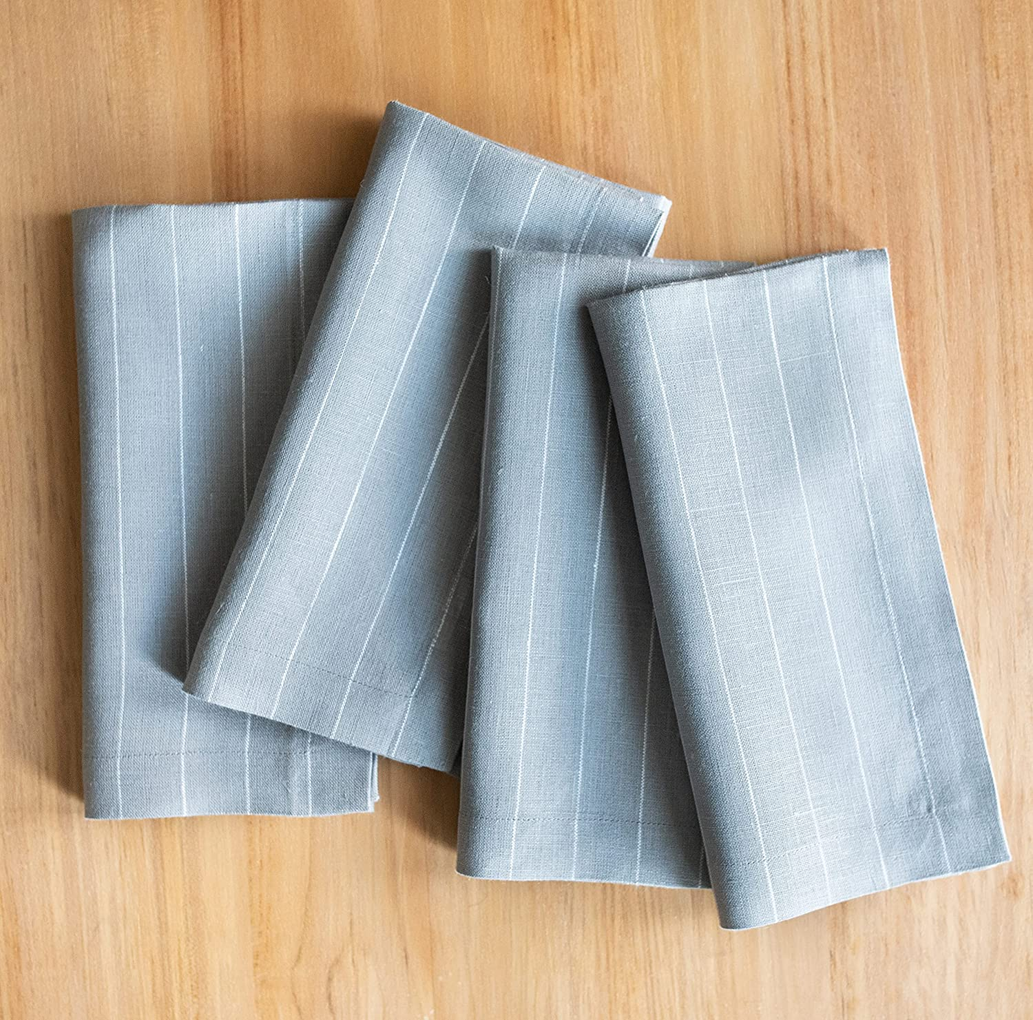 Solino Home Pinstripe Pure SEAL limited product Linen Dinner x – Elegant Inch 20 Napkins