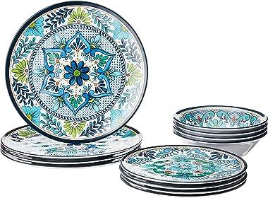 Certified International Talavera - Vajilla de melamina, 12 piezas, servicio para 4, multicolor