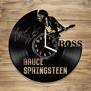 Bruce Vinyl Wall Clock The Boss E Street Band Rock Music Legend Art Decorate Home Style Unique Gift idea for Him Her (12 inches)