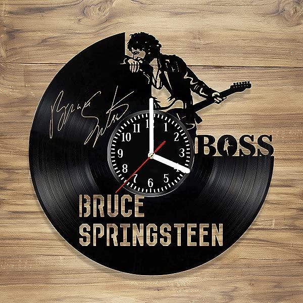 布鲁斯乙烯基挂钟老板 E 街乐队摇滚音乐传奇艺术装饰家居风格独特的礼物想法为他她 12 英寸