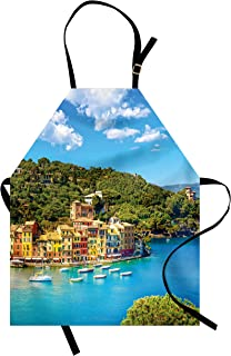 Ambesonne Italy Apron, Portofino Landmark Aerial Panoramic View Village and Yacht Little Bay Harbor, Unisex Kitchen Bib Apron with Adjustable Neck for Cooking Baking Gardening, Blue Green Yellow