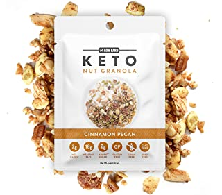 Low Karb - Keto Single Serve Nut Granola Healthy Breakfast Cereal (12 Pack) Low Carb Snacks & Food - 2g Net Carbs - On The Go Snack - Almonds, Pecans, Coconut, and more (12 x 1.2 oz) (Cinnamon Pecan)