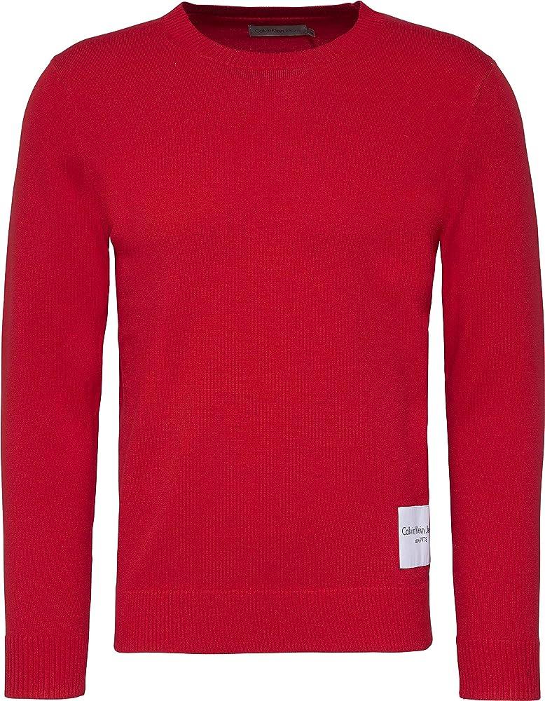 Calvin klein sonat slim , maglia , pullover per uomo  maniche lunghe , 100 % cotone J30J307324