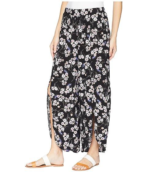 cierre Negro tulipán o estampado estampado con doc Mod corto de sin de floral Pantalón rayón OH4OxCq
