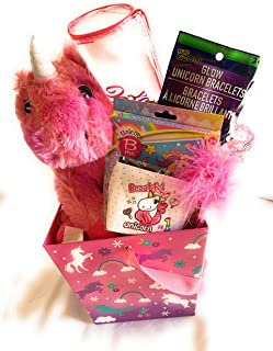 YB Premade Kids Toddlers Unicorn Stuff Birthday Gifts Box for Girls Easter Basket Baskets Get Well Gifts for Any Occasions