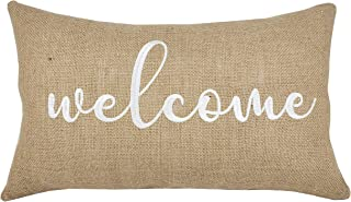 DecorHouzz Burlap Rustic Home Sweet Home Embroidered Decorative Lumbar Pillow Cover for Housewarming Guest Entryway Family Farmhouse Beach Porch Bench (Welcome (Natural), 12
