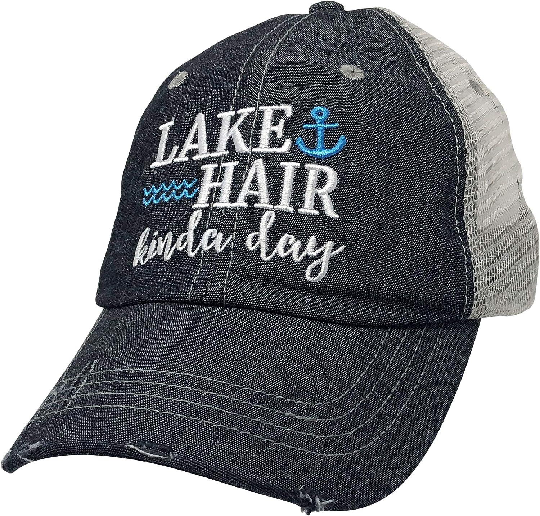 COCOVICI Lake Hair Kinda Day Embroidered Baseball Hat Mesh Trucker Style Hat Cap Lake Life Grey