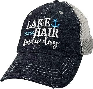 XOXO, Coco Lake Hair Kinda Day Embroidered Baseball Hat Mesh Trucker Style Hat Cap Lake Life Dark Grey