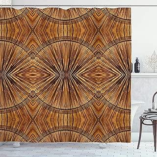 Ambesonne Tribal Shower Curtain, Boho Bamboo Pattern Primitive Eastern Jagged Wood Style Print, Cloth Fabric Bathroom Decor Set with Hooks, 70