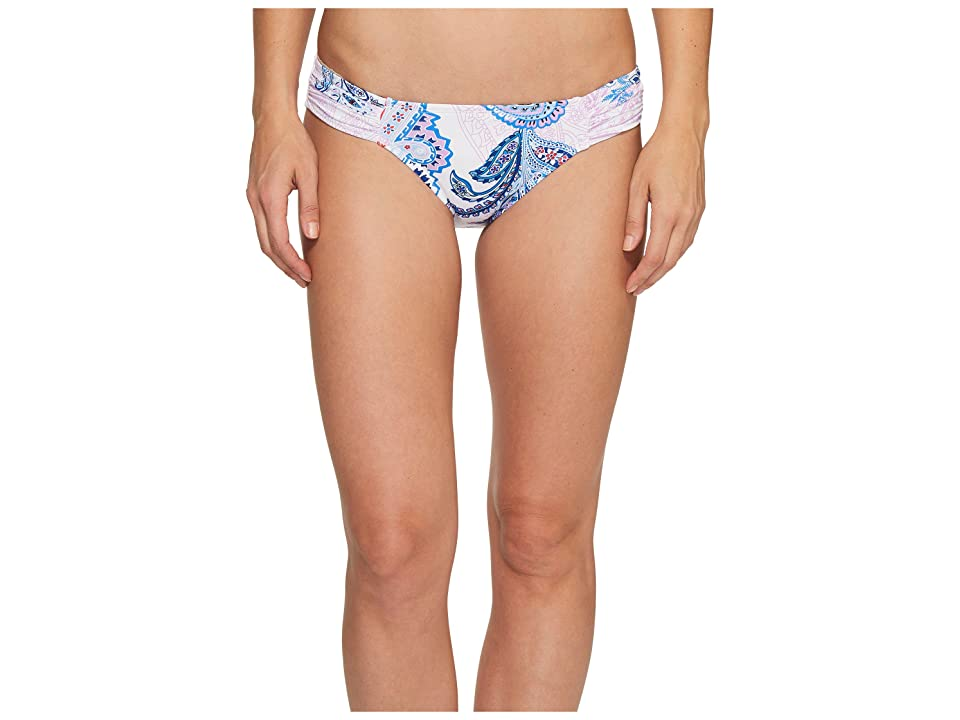 Tommy Bahama Paisley Leaves Side-Shirred Hipster Bikini Bottom (White) Women