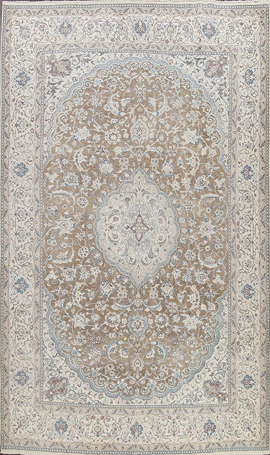 Vintage Brown Floral Muted Nain 40% OFF Cheap Sale We OFFer at cheap prices Oriental Hand-Knotted Rug Area W
