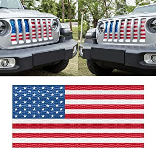Sunluway Front Grille Mesh Insert Grill Screen US Flag Bug Deflector Net for 2018 2019 2020 Jeep Wrangler JL JLU