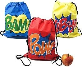 12 Superhero Drawstring Bag Party Supplies - Superhero Party Favors (1 Dozen)