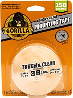 Gorilla 6036002 Tough & Clear Mounting Tape, 25mm x 3.81m
