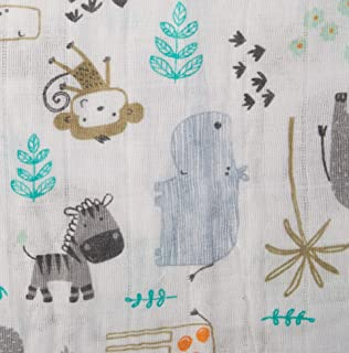Shannon Fabrics 0591174 Shannon Embrace Double Gauze Zoo Escape Steel Fabric by the Yard