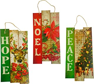 Christmas Hanging Signs - Vintage Holiday Decorative Faux Wood (Set of 3) (Hope-Noel-Peace)