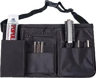 Professional Hairdresser Canvas Waist Apron, Multiple Pocket Hair Salon Tools Cosmetic Organizer, Black