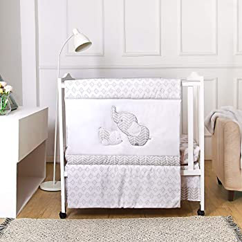 La Premura Baby Elephants Nursery Mini / Portable Crib Bedding Sets – Elephants & Puppy 3 Piece Grey Crib Set - Unisex Nursey Bedding and Neutral Decor
