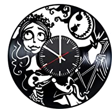 Corpse Bride Vinyl Clock - Corpse Bride Jack Vinyl Records Wall Art Room Decor Handmade Decoration Party Supplies Theme - Best Original Present Gift Idea - Vintage and Modern Style