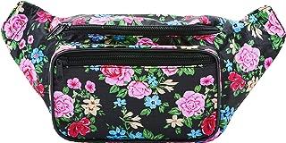 SoJourner Black Rose Fanny Pack - Cute Floral Packs for men, women festivals raves | Waist Bag Fashion Belt Bags