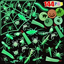 Glow in Dark Insects 144 PCs Fake Bugs, Bouncy Balls, Spider Rings, Halloween Party Favor