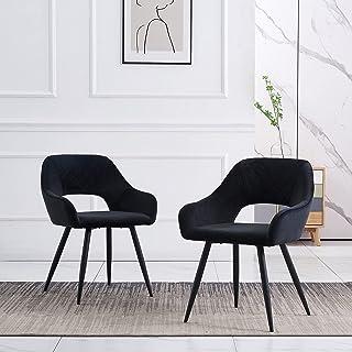 JYMTOM Chaise de salle à manger en velours avec assise rembourrée en tissu pour comptoir, salon, avec pieds en métal et ac...