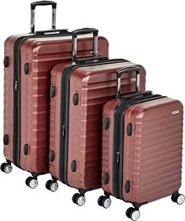 "AmazonBasics Premium Hardside Spinner Luggage with Built-In TSA Lock - 3-Piece Set (21"", 26"", 30""), Red"