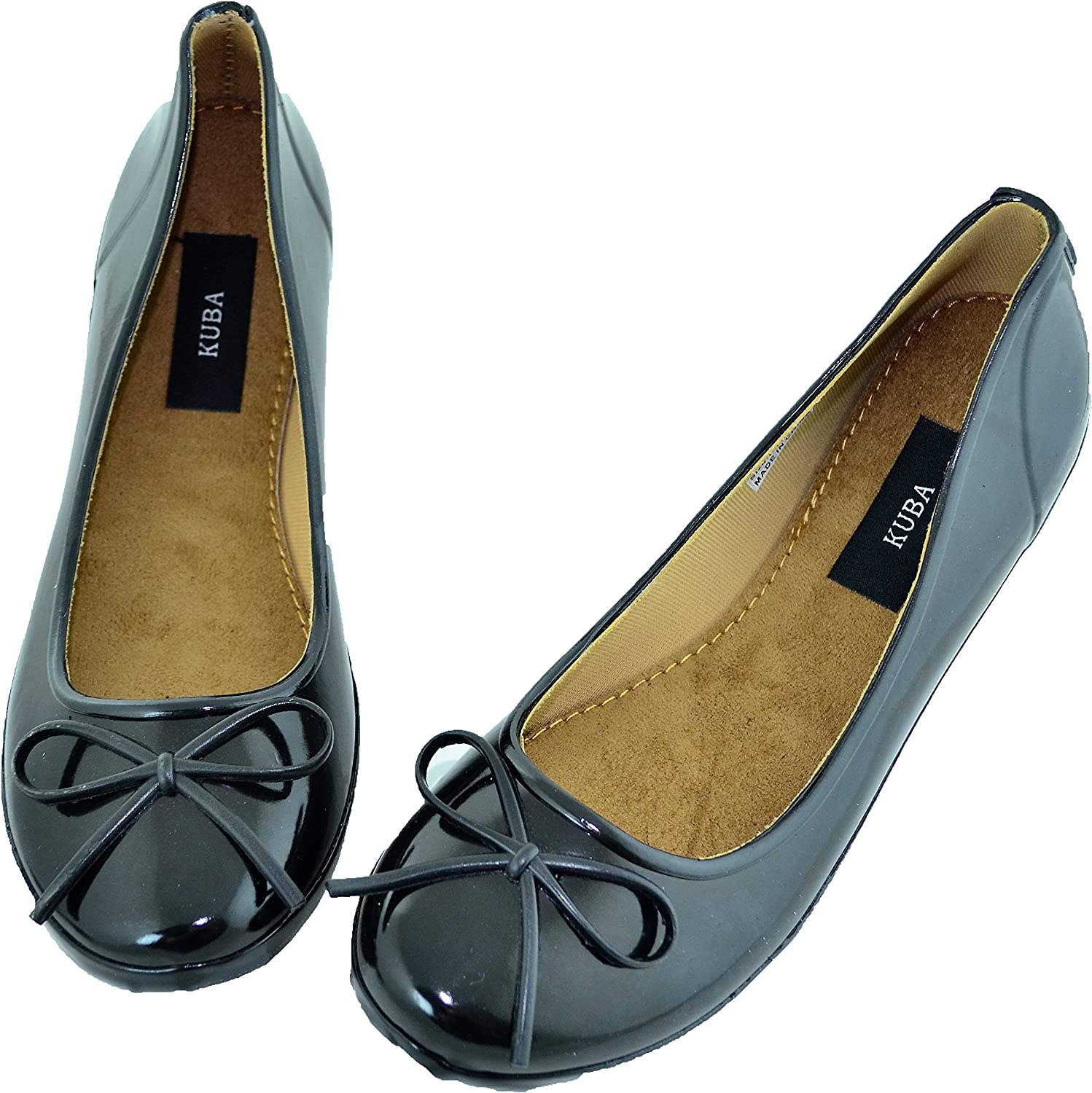 Kuba Black Handmade Natural Soft Rubber Slip On Ballet Flat shoes with Bow