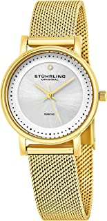 Stuhrling Original Lady Casatorra Elite Women's Quartz Watch with Silver Dial Analogue Display and Gold Stainless Steel Bracelet 734LM.04