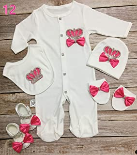 MIYOCAR 0-6m all cotton rose red crown rhinestone clothes set one piece bodysuit set unique baby shower gift bling baby cothes S12
