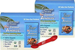 COCONUT AMINOS SOY FREE SAUCE PACKETS, [2 Pack] Gluten Free Soy Sauce, Low Sodium, Organic, Vegan and Kosher. [40 Packets ...