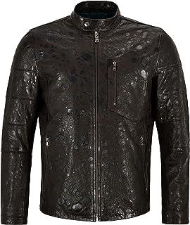 Leopard Print Mens Leather Jacket Exotic Printed Vintage Classic Lambskin Jacket