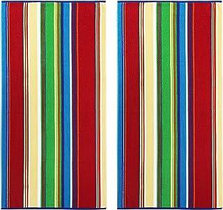 COTTON CRAFT - Terry Beach Towel 30x60-2 Pack - Springfield Multi Stripe - 400 Grams per Square Meter - 100% Pure Ringspun...