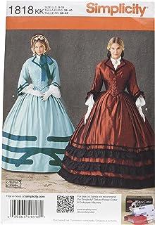 Simplicity Pattern 1818.KK-K - Patrones para Vestido de época de Mujer (Tallas: 36-42)