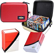 Totem World Poke Ball Themed Card Case for Pokemon Cards with Deck Protector Box and 100 Card Sleeves - Kid Safe Zipper Carrying Organizer - 500 Card Holder