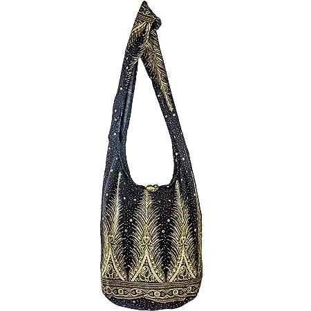 SLING Bag COTTON 40 PRINTs Männer oder Frauen CROSSBODY Tasche LARGE BOHO Hippie Hobo Handtasche (Black Feather)