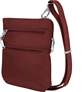Travelon Anti-theft Classic Slim Dbl Zip Crossbody Bag, Wine