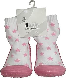 ES Kids Rubber Soled Socks - Pink Star 6-12mth, Pink