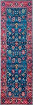 "Mylife Rugs Traditional Vintage Non Slip Machine Washable Printed Area Rug, Blue Hot Pink 2'7"" x 7'7"""