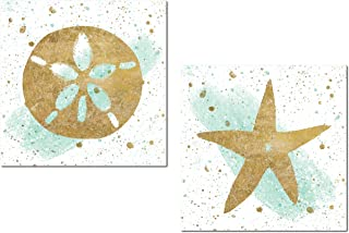 Gango Home Décor Lovely Nautical Gold Splatter and Teal Watercolor-Style Starfish and Sand Dollar Ocean Set by Wild Apple Portfolio; Coastal Decor; Two 12x12in Unframed Paper Posters