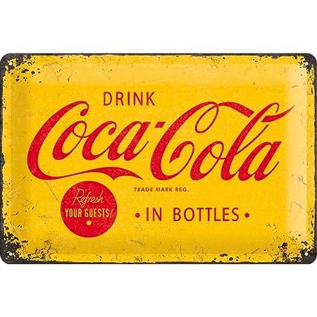 Nostalgic-Art Coca Cola Logo Yellow Placa Decorativa, Metal, Amarillo y Rojo, 20 x 30 cm