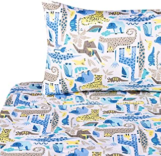 J-pinno Forest Animals Twin Sheet Set for Kids Boy Children,100% Cotton, Flat Sheet + Fitted Sheet + Pillowcase Bedding Set