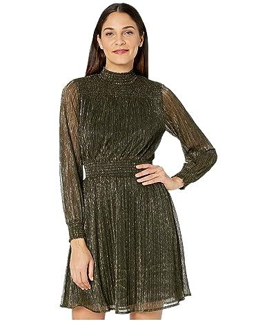 Sam Edelman Metallic Smocked Dress (Gold) Women