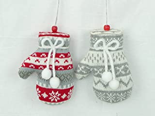 None Christmas Knitted Mitten Ornament Set of 2 Buyers' Choice 3 Styles/Colors (Gray, Red & White)