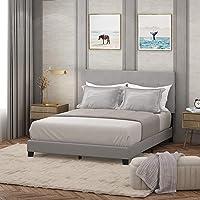 Furinno Laval Glacier Queen Button Tufted Bed Frame Deals