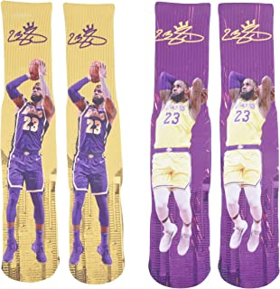 Forever Fanatics Lebron James #23 Basketball Crew Socks ? Pack of 2 Home & Away ? Lebron James Autographed ? One Size Fits 6-13