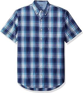 9db3942d0bbcb Izod Mens Big and Tall Saltwater Short Sleeve Plaid Shirt Button-Down Shirt