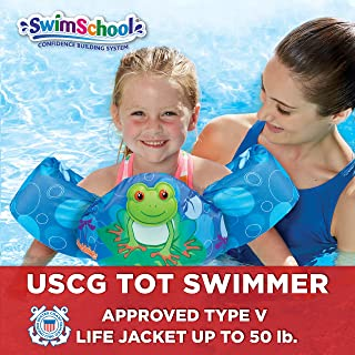 SwimSchool USCG Approved TOT Swimmer with Arm Floaties, Type V Life Jacket/PFD, Medium/Large, Navy/Green